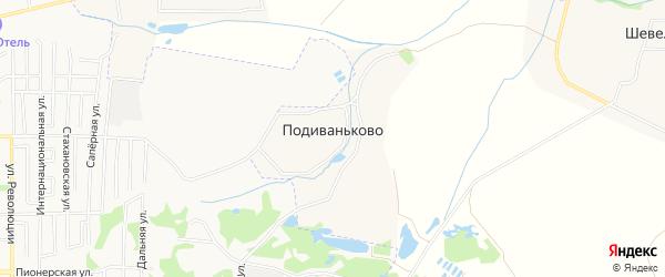 Карта деревни Подиваньково в Тульской области с улицами и номерами домов