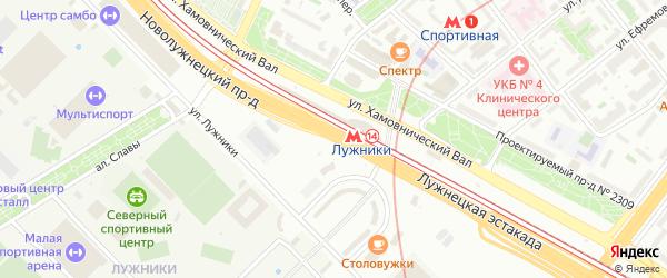 Новолужнецкий проезд на карте Москвы с номерами домов
