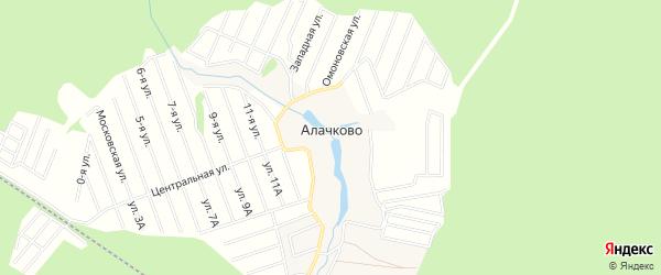 Карта деревни Алачково города Чехов в Московской области с улицами и номерами домов
