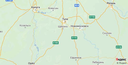 Карта Ефремовского района Тульской области с городами и населенными пунктами