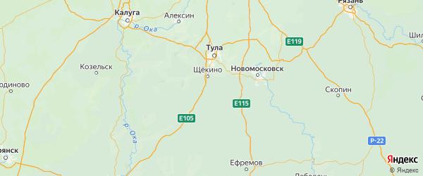 Карта Ленинского района Тульской области с городами и населенными пунктами