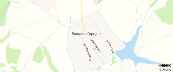 Карта деревни Большей Городни в Московской области с улицами и номерами домов