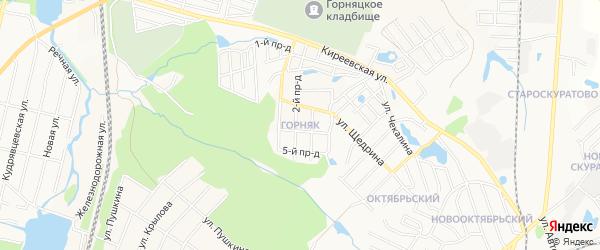 Территория СНТ Лотос на карте поселка Горняка с номерами домов