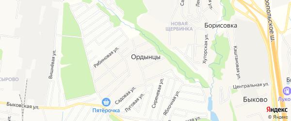 Территория СНТ Часовщик-N55 на карте деревни Ордынцев с номерами домов
