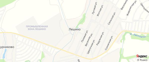 Карта деревни Лешино города Чехов в Московской области с улицами и номерами домов