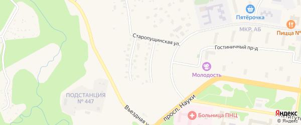 Спастешиловская улица на карте Пущино с номерами домов