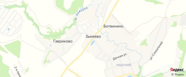 Карта деревни Зыкеево города Чехов в Московской области с улицами и номерами домов