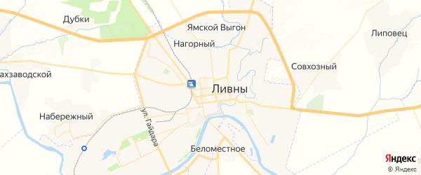 Карта Ливен с районами, улицами и номерами домов