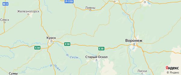Карта Советского района Курской области с городами и населенными пунктами