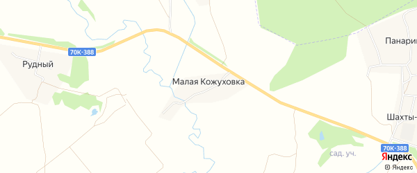 Карта деревни Малой Кожуховки в Тульской области с улицами и номерами домов