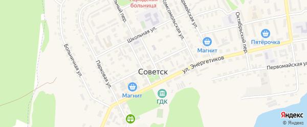 Комсомольский переулок на карте Советска с номерами домов