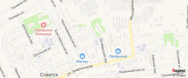Октябрьский переулок на карте Советска с номерами домов