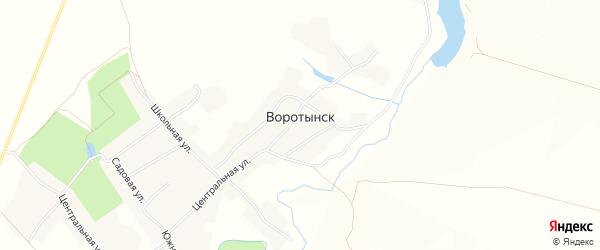 Карта села Воротынска в Орловской области с улицами и номерами домов