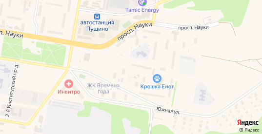 Микрорайон Д в Пущино с номерами домов на карте. Спутник и схема онлайн