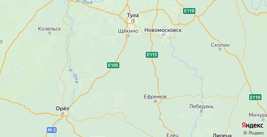 Карта Тепло-огаревского района Тульской области с городами и населенными пунктами