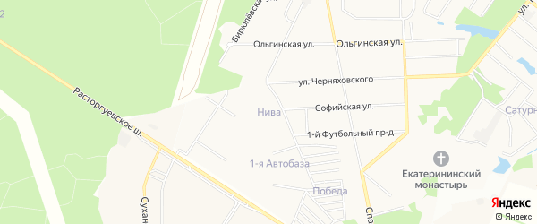 Садовое товарищество Нива на карте Видного с номерами домов
