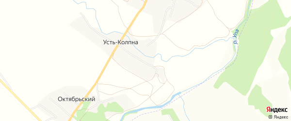 Карта деревни Усть-Колпна в Тульской области с улицами и номерами домов
