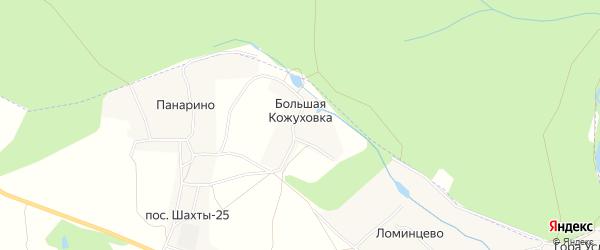 Карта деревни Большей Кожуховки в Тульской области с улицами и номерами домов