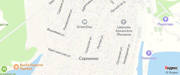 Сельская улица на карте деревни Сорокино с номерами домов
