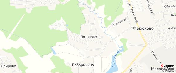 Карта деревни Потапово города Подольска в Московской области с улицами и номерами домов