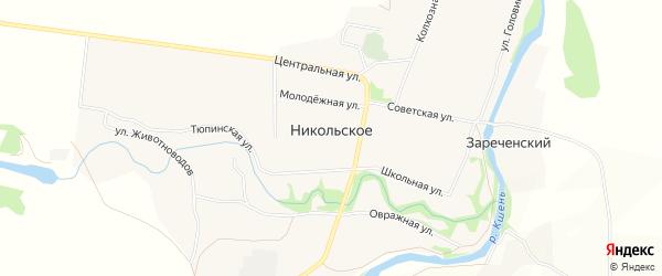 Карта Никольского села в Орловской области с улицами и номерами домов