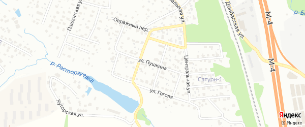 Улица Пушкина на карте Видного с номерами домов