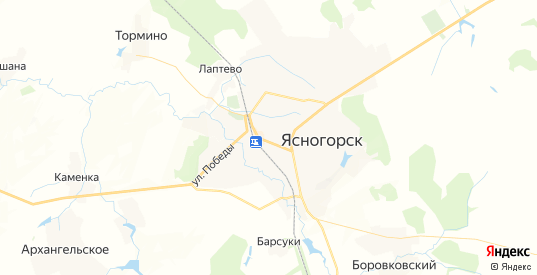 Карта Ясногорска с улицами и домами подробная. Показать со спутника номера домов онлайн