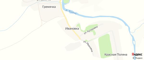 Карта деревни Ивановки в Орловской области с улицами и номерами домов