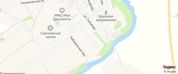 Красногорский переулок на карте Сергиевского села Орловской области с номерами домов