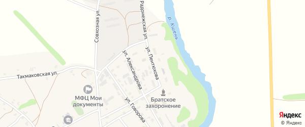 Улица Пентюхова на карте Сергиевского села Орловской области с номерами домов