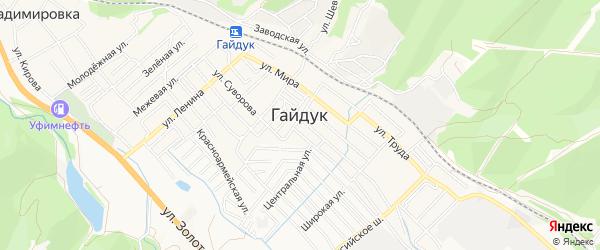 Карта села Гайдука города Новороссийска в Краснодарском крае с улицами и номерами домов