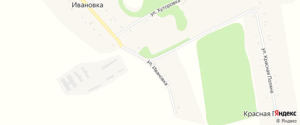 Улица Хуторовка на карте деревни Ивановки Орловской области с номерами домов