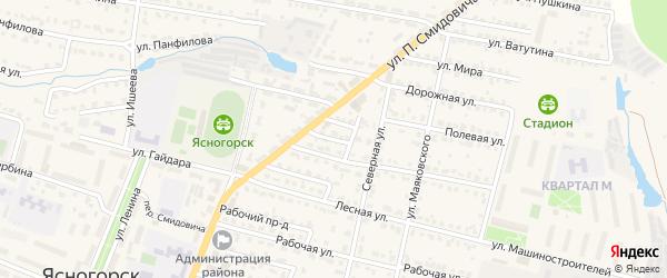 Зеленый переулок на карте Ясногорска с номерами домов