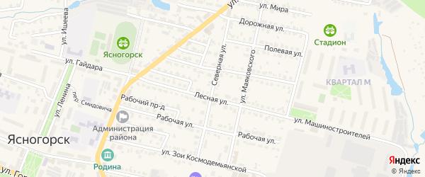Северная улица на карте Ясногорска с номерами домов