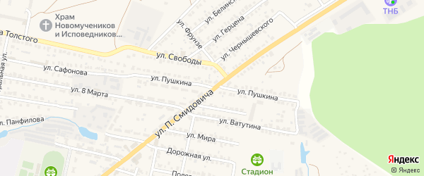 Улица Пушкина на карте Ясногорска с номерами домов