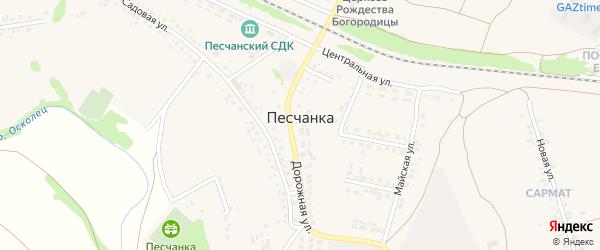 1-й Солнечный переулок на карте села Песчанки с номерами домов