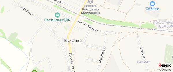 1-й Майский переулок на карте села Песчанки Белгородской области с номерами домов