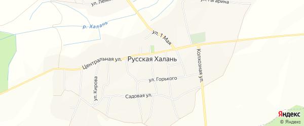 Карта села Русской Халани в Белгородской области с улицами и номерами домов