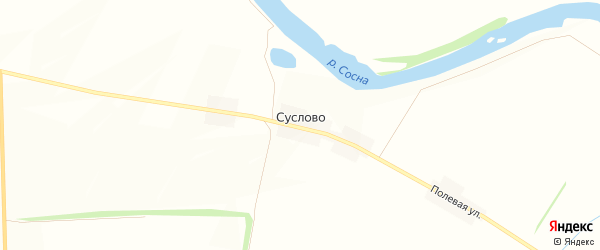 Карта деревни Суслово в Орловской области с улицами и номерами домов