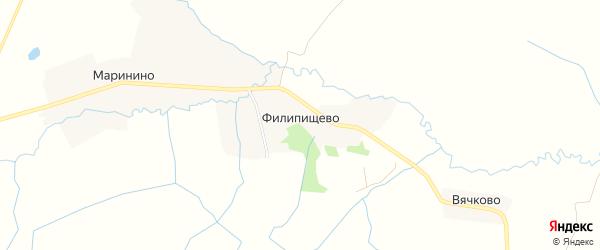 Карта деревни Филипищево города Кашина в Тверской области с улицами и номерами домов