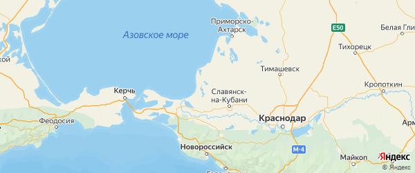 Карта Славянского района Краснодарского края с городами и населенными пунктами