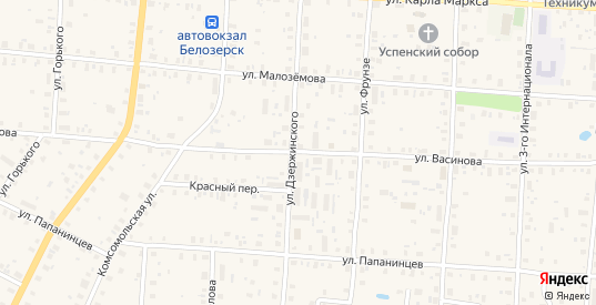 Улица Васинова в Белозерске с номерами домов на карте. Спутник и схема онлайн