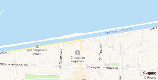 Набережная П.К.Георгиевского в Белозерске с номерами домов на карте. Спутник и схема онлайн