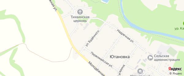 Улица Буденного на карте села Ютановки Белгородской области с номерами домов