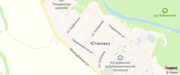 Улица Комарова на карте села Ютановки с номерами домов