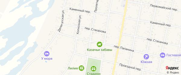 Пролетарская улица на карте Должанской станицы Краснодарского края с номерами домов