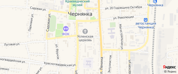 Ленинский переулок на карте поселка Чернянка с номерами домов