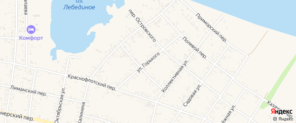 Улица Горького на карте Должанской станицы Краснодарского края с номерами домов