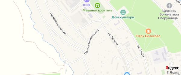 Привокзальный переулок на карте Болохово с номерами домов