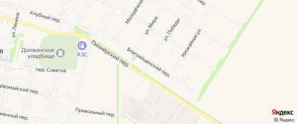 Благовещенский переулок на карте Должанской станицы Краснодарского края с номерами домов